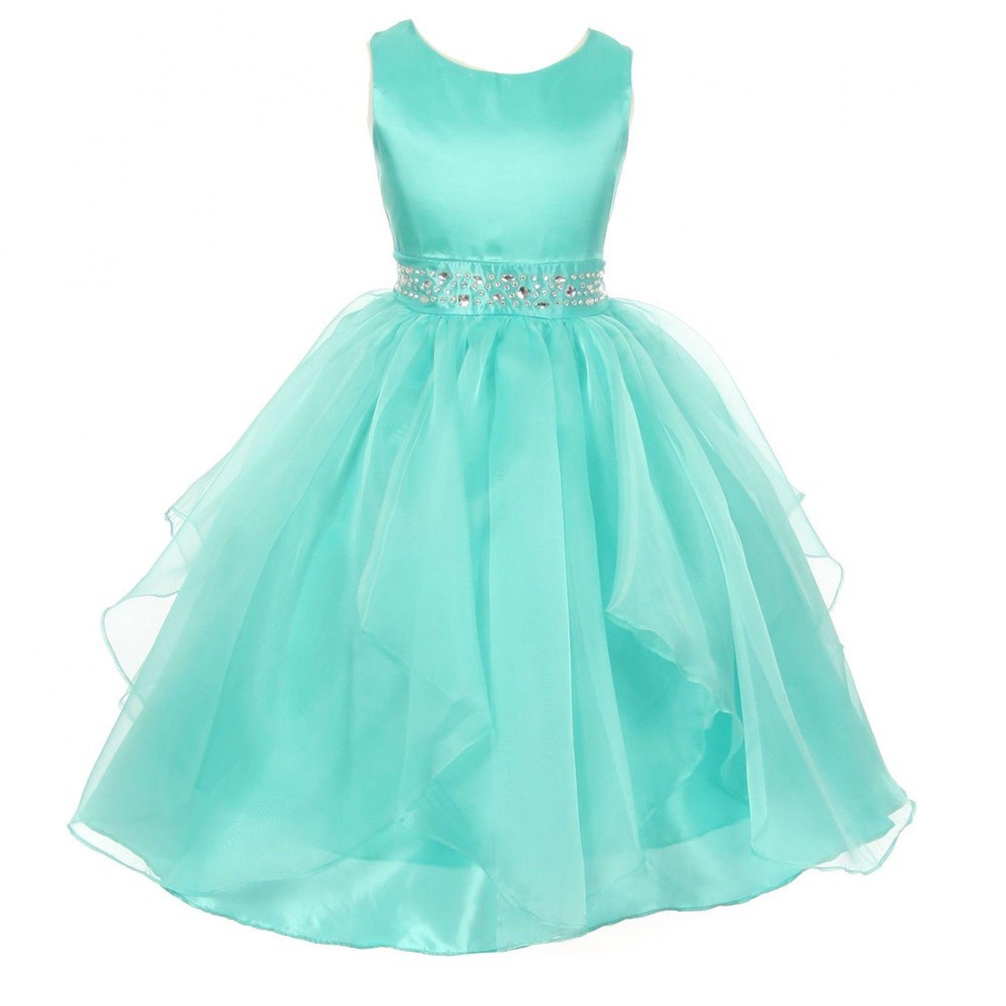 Big Girls Aqua Dazzling Stones Taffeta Organza Cascade Party Dress ...