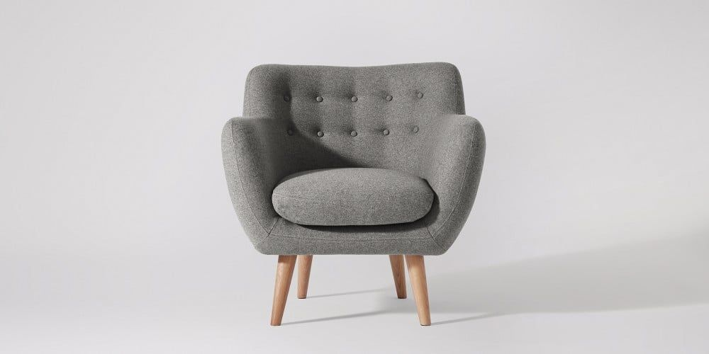 Mimi Armchair Swoon Editions Grey Mid Century Armchair Side Chairs Living Room Armchair