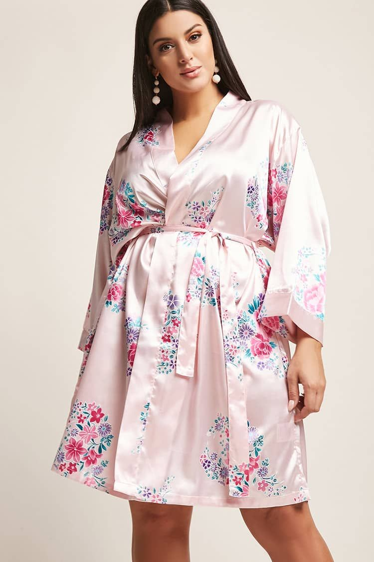 45b8025cac Product Name Plus Size Pretty Robes Floral Print Satin Kimono ...