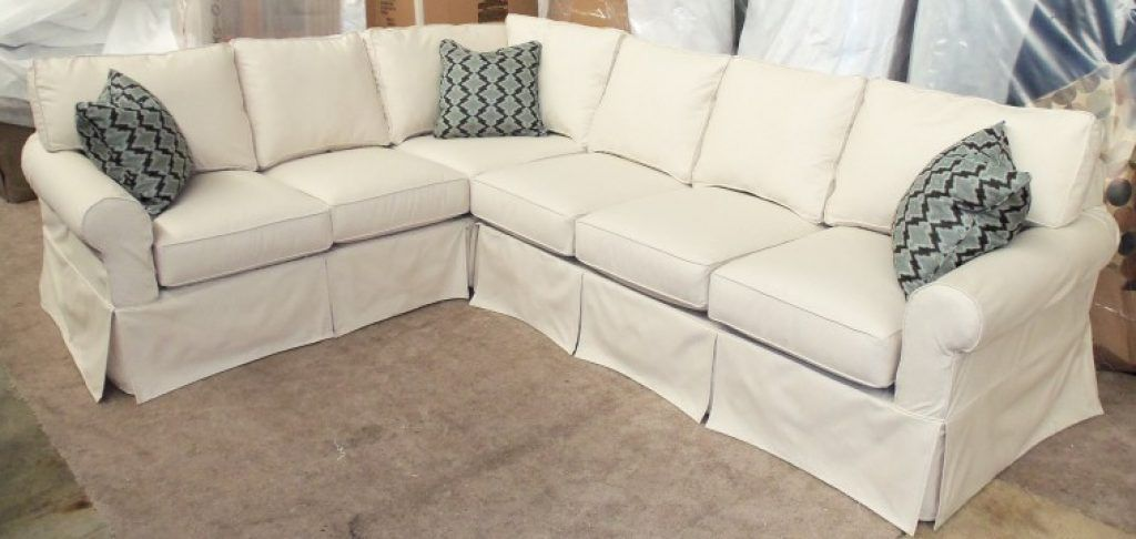 Awesome White Slip Covered L Shaped Sectional Sofa