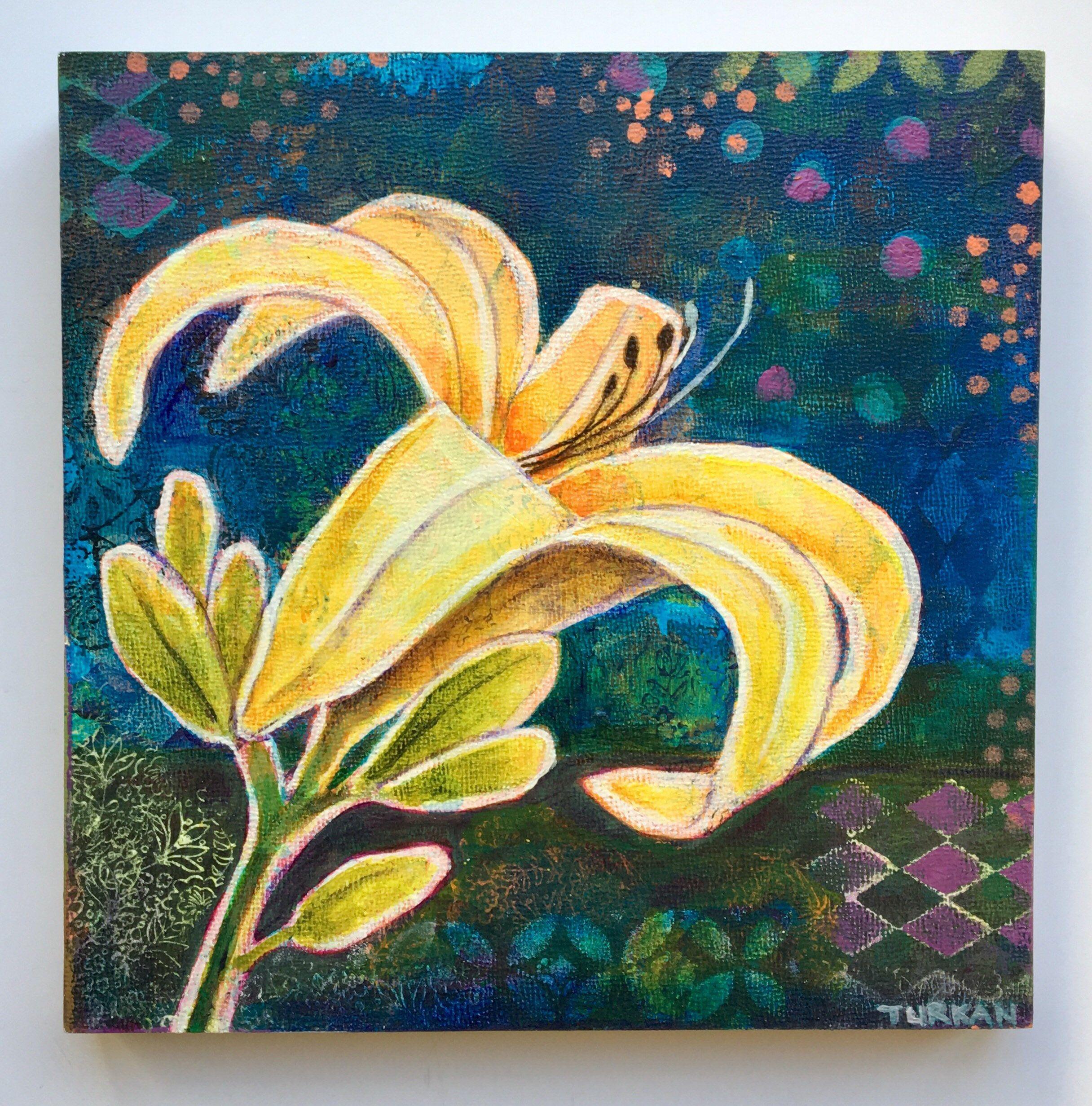 Yellow lily,ORIGINAL acrylic painting 8 x 8 \
