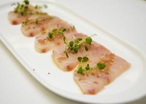 Yellowtail Crudo With Ginger Oil And Pickled Red Onion Fish Tales