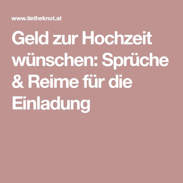Geld Zur Hochzeit Wünschen: Sprüche U0026 Reime Für Die Einladung