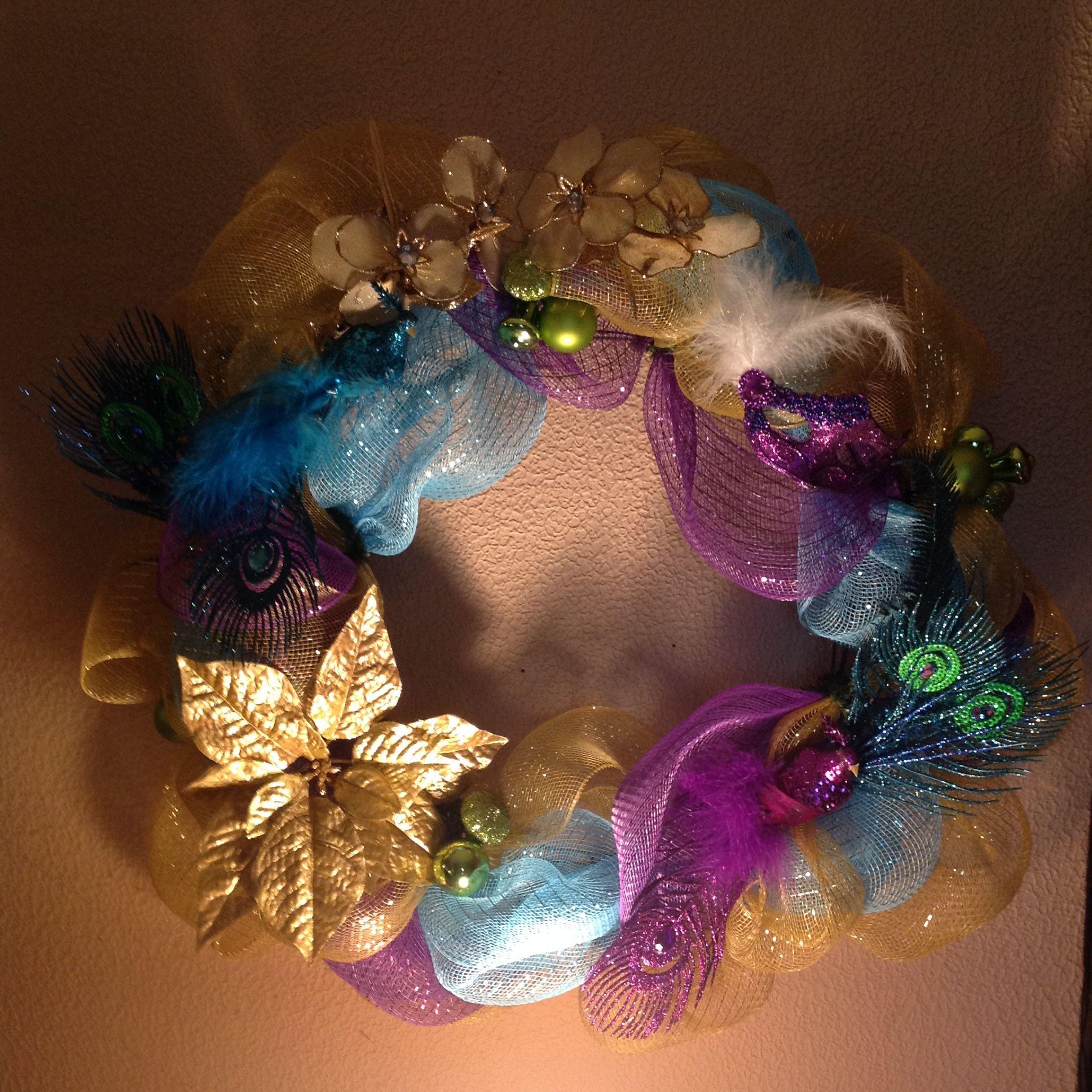 Deco mesh Mardi Gras style Christmas wreath created by C Burleigh