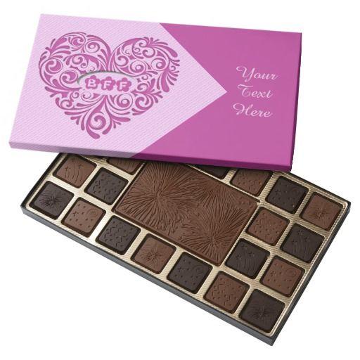 Personalized Pink BFF Heart Chocolate Box | Bff, Chocolate boxes ...