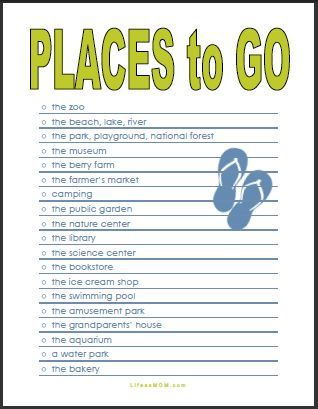 Places To Go Free Printable Checklist For Summer Planning