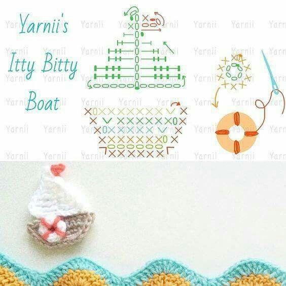 Barquito | crochet | Pinterest | Apliques, Aplicación y Ganchillo