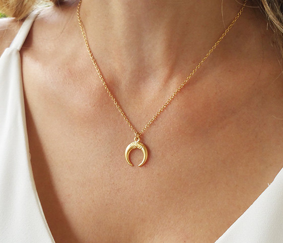Gold Color Horn Necklace Double Horn Pendant Necklace For Women Charm Jewelry Crescent Moon Necklace 5PCS