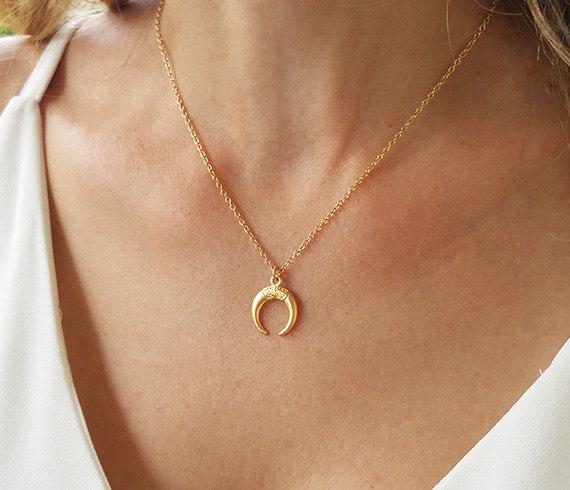 0e6422e6893ed Gold Horn Necklace, Gift for Women, Double Horn Necklace, Bohemian ...