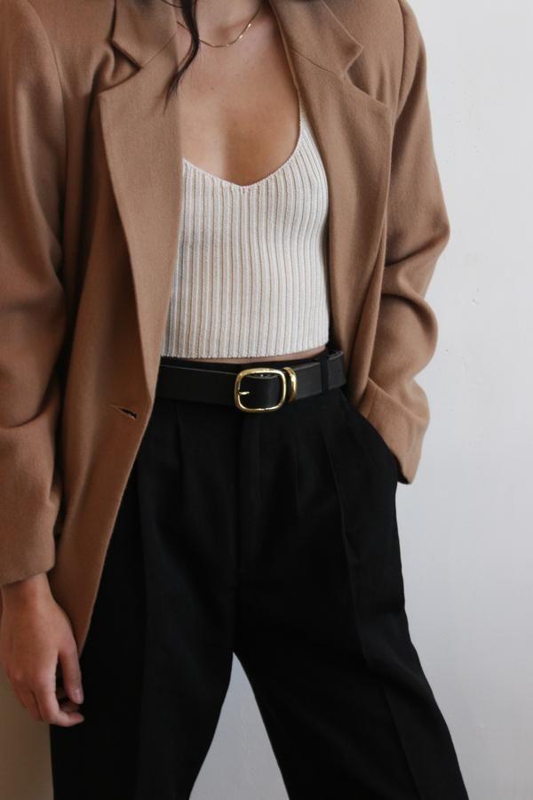 Black leather belt   brass