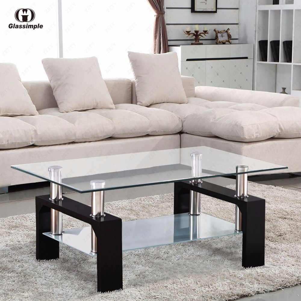 Glass coffee table in living room rectangular glass coffee table shelf chrome black wood living room