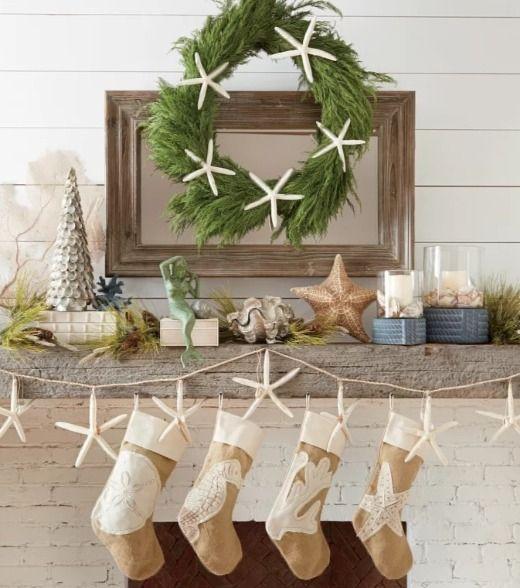 coastal christmas mantel with burlap stockings starfish garland and more shop the look - Coastal Christmas Stockings