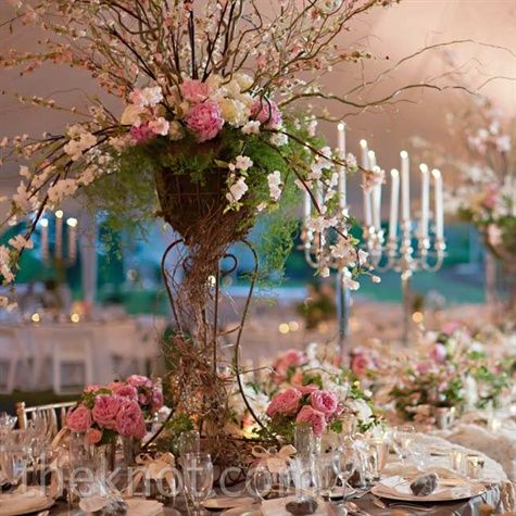 To get the look of an enchanted garden the tables were decked out