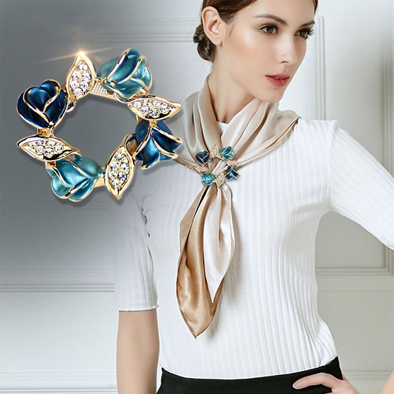 Fashion Silk Flower Three Ring Silk Scarf Button Scarf Ring Retro Ring  T