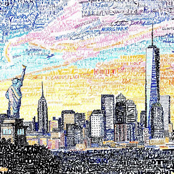 New York City Art Print - New York City Poster - New York City Map ...