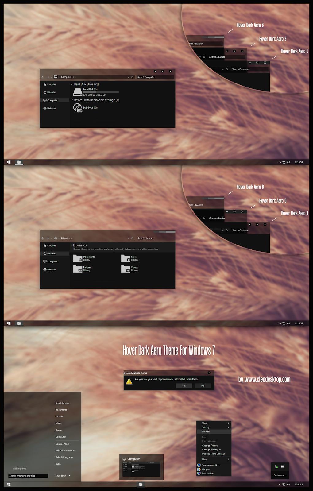Windows10 Themes I Cleodesktop: Hover Dark Aero Theme For