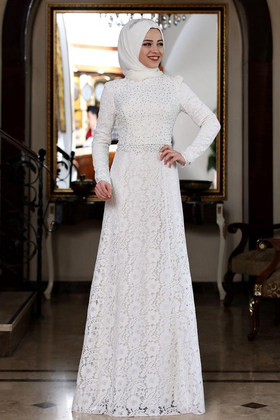 Ekru Tesettur Abiye The Dress Elbise Moda Stilleri