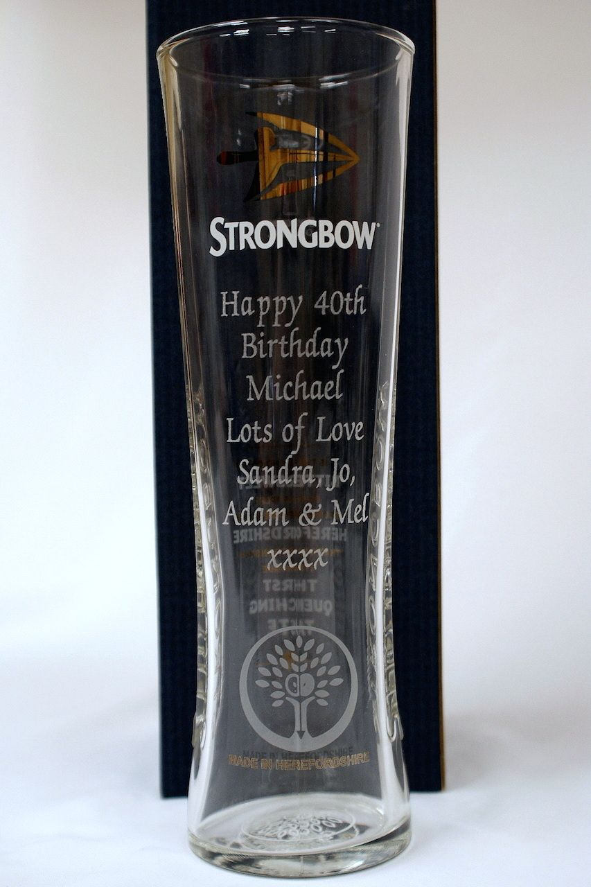 ENGRAVED STRONGBOW GLASS Alcohol gifts, Personalized