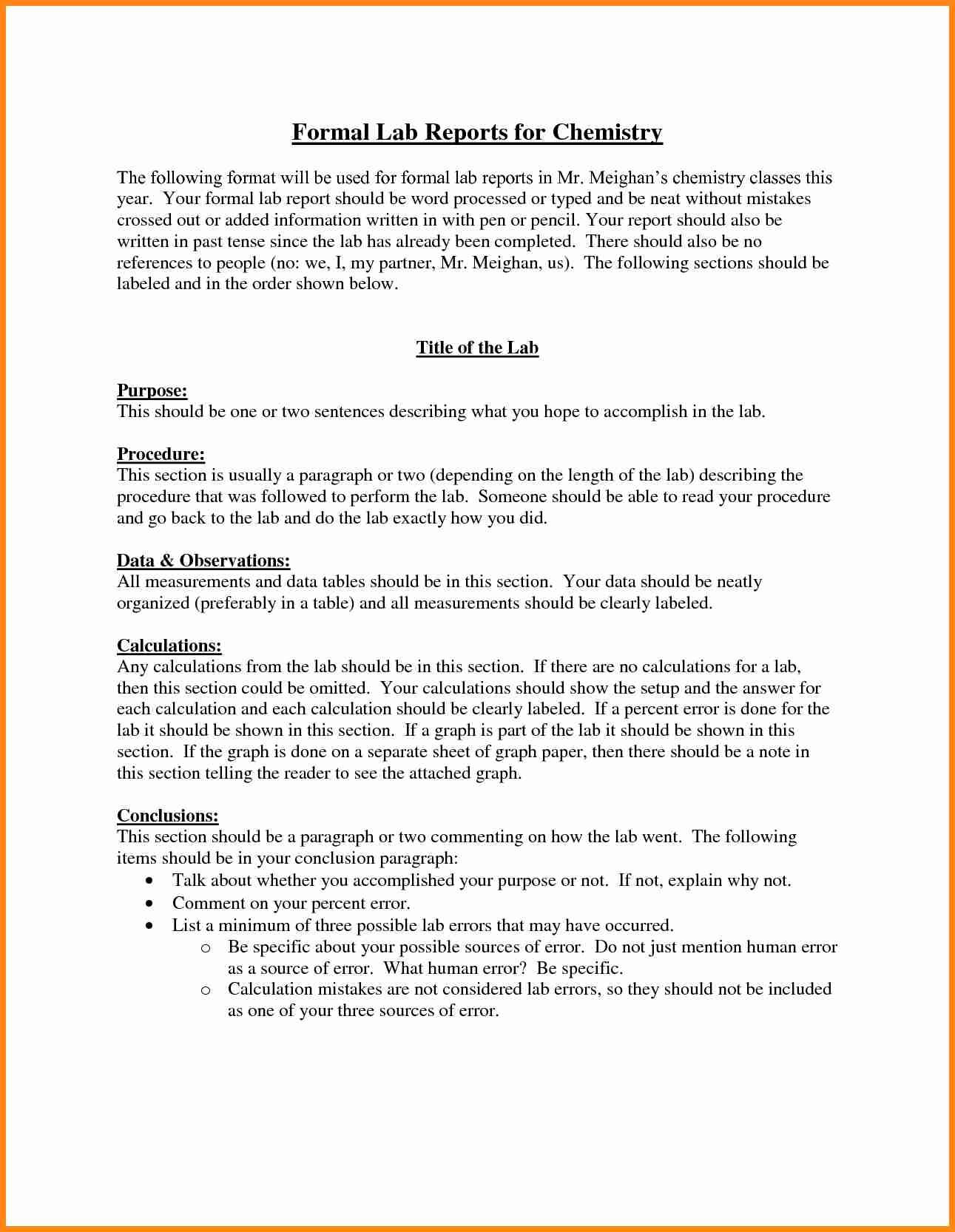 lab report example lab reports ought to be meticulous in order to be certain that you will receive the lab report youre expecting for you want to supply