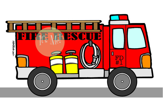 Red Fire Engine Digital Download Fire Rescue By Itsmeprints Red