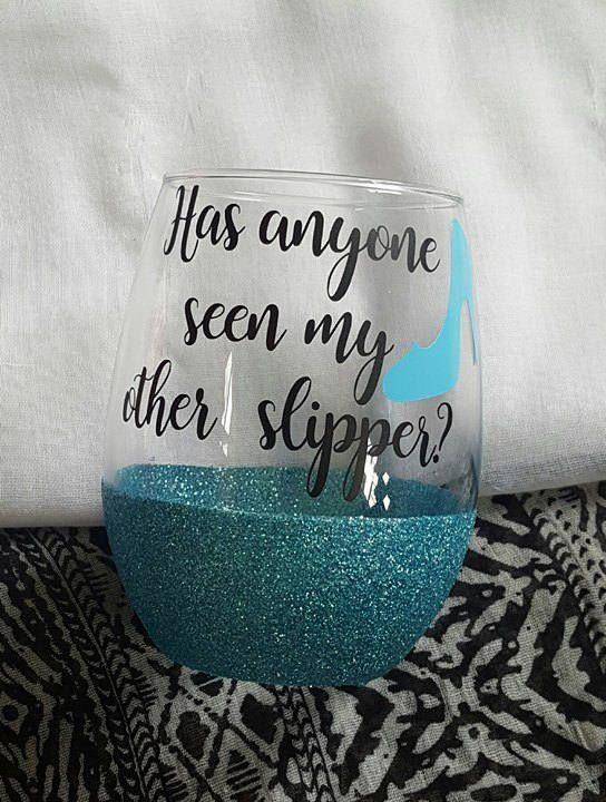 Disney Wine Glass, Cinderella Wine Glass, Cinderella , Glitter Wine Glass, Disney