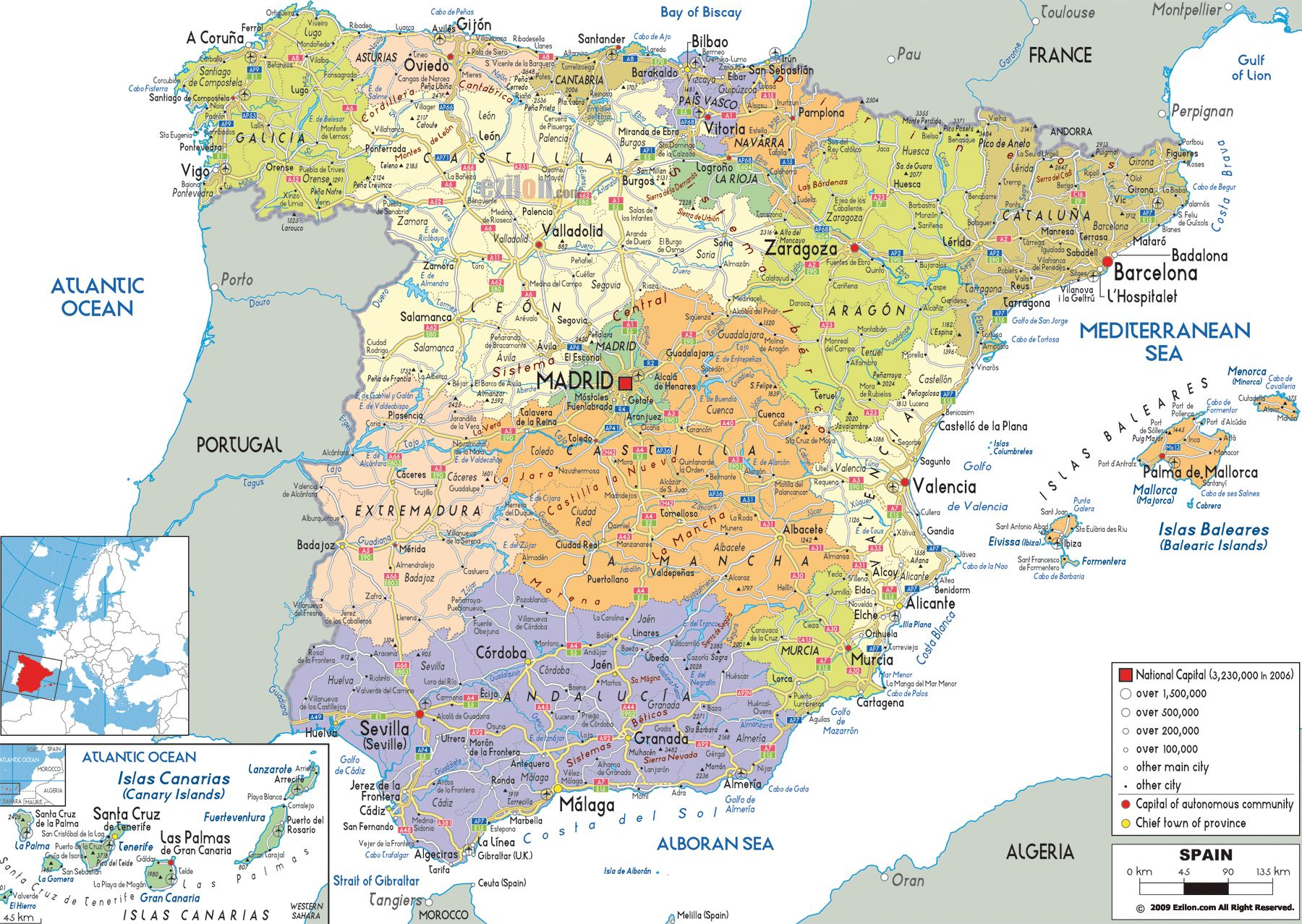 Map Of Spain Showing Airports.Large Detailed Political And Administrative Map Of Spain With All