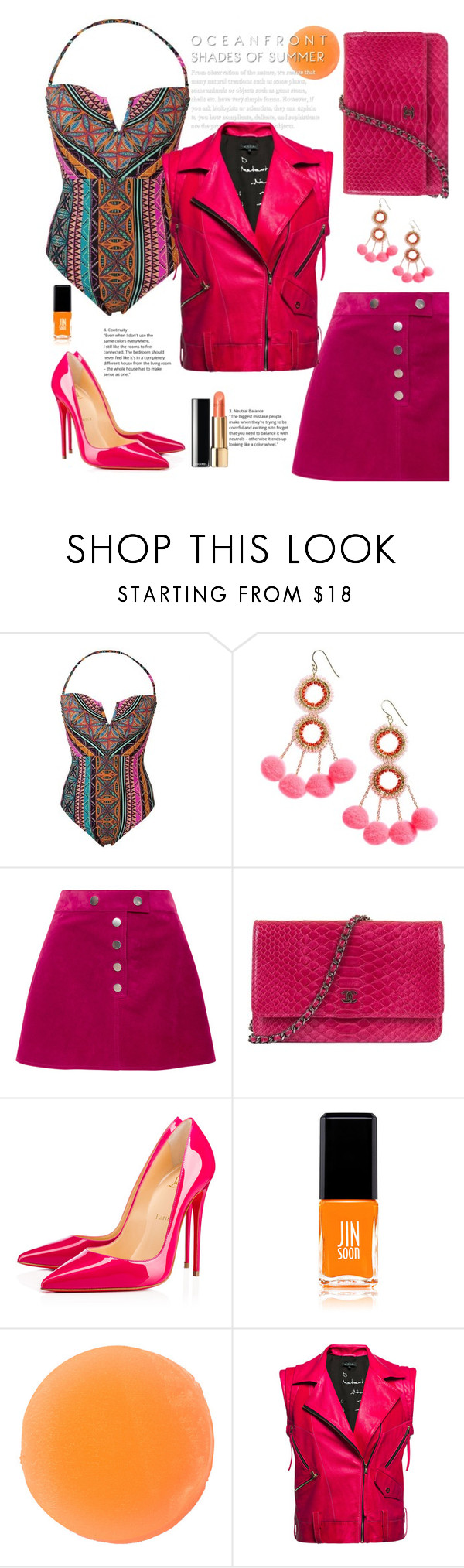 """""""Summer's Song"""" by felicitysparks ❤ liked on Polyvore featuring Hobie, Panacea, Courrèges, Chanel, Christian Louboutin, JINsoon, Zelens and Leka"""