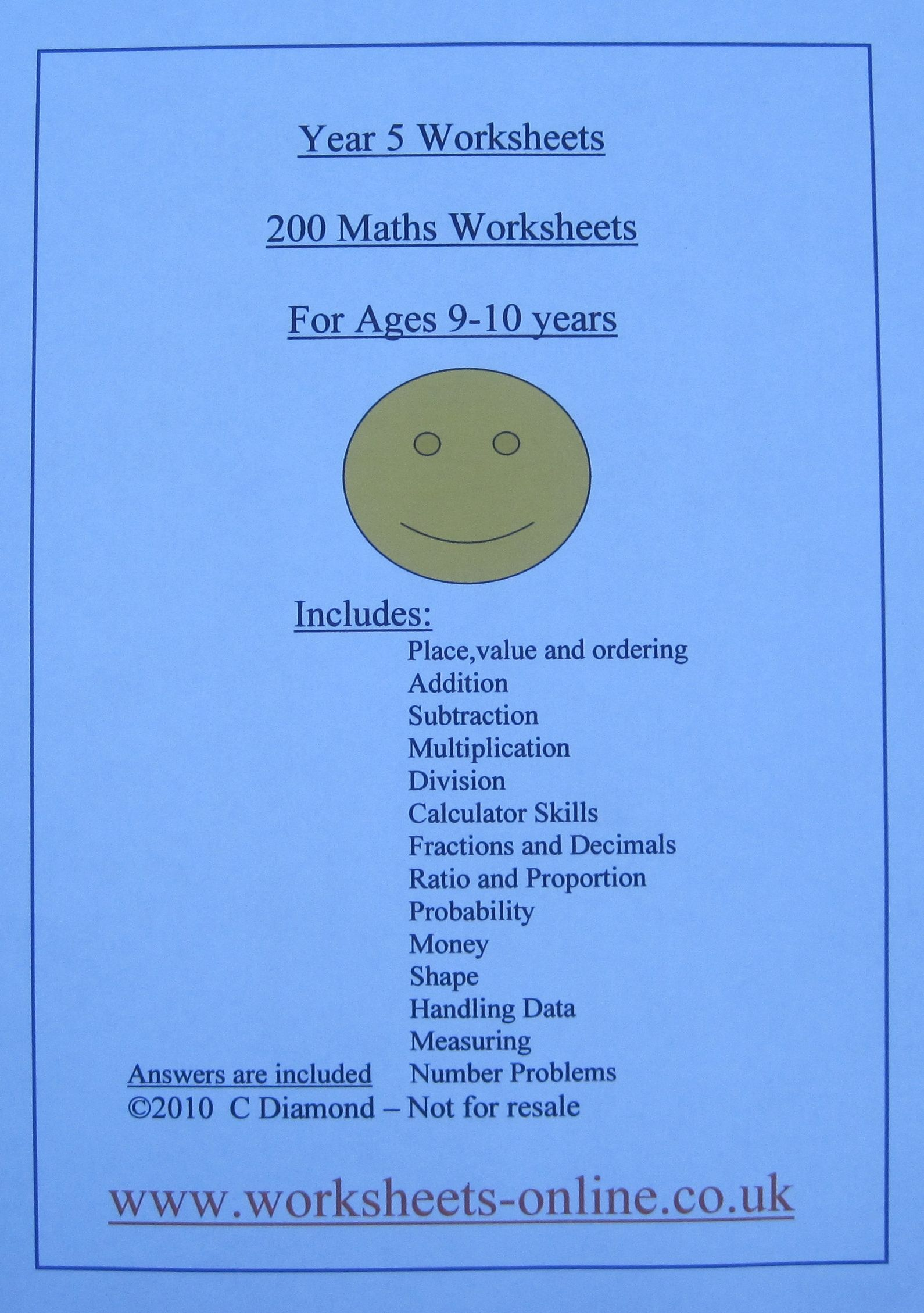200 Year 5 Maths worksheets for children aged 9 or 10 years old ...