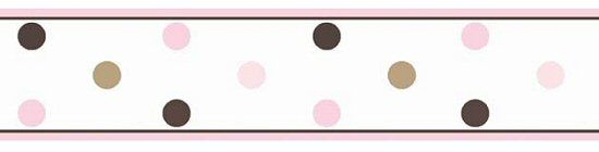 Pink And Brown Polka Dot Wallpaper Border For Girls Room Or Nursery