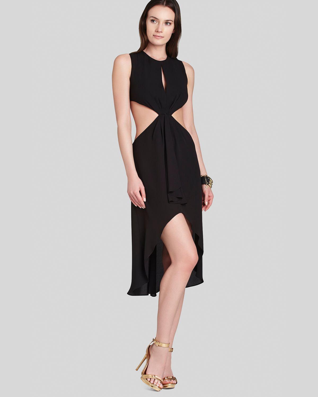 Bcbg black high low dress lace back