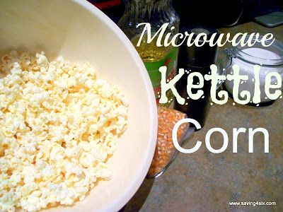 Microwave Kettle Corn http://saving4six.com/2012/10/microwave-kettle-corn.html