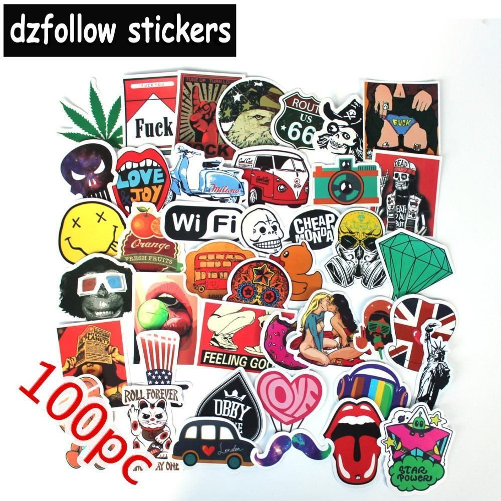 100pcs Mixed Funny Brand Laptap Stickers For Home Decor Jdm On Laptop Sticker Decal Fridge In 2020 Laptop Stickers Stickers Fun Stickers