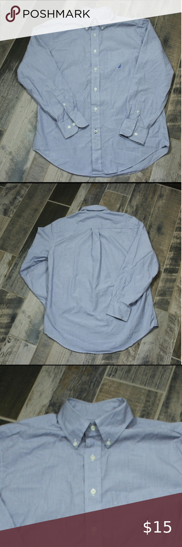 Nautica Men Button Down Long Sleeve Shirt Nautica Men Button Down Shirt Size M Long Sleeve  Size M Fabric: 100% cotton Condition: pre-owned in excellent condition  Measurements: Back length: approx. 31 inches (laid flat measurement from the neck to the bottom of the back) Pit to pit: approx. 23 inches Sleeve length: approx. 20 1/4 inches (measured from the very end of the arm on the underside up to the seam meeting at the underarm)  R0706 Nautica Shirts
