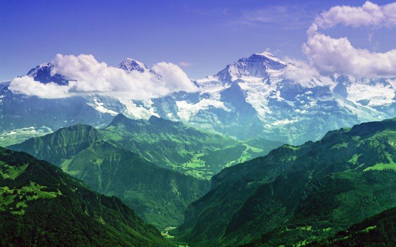 Desktop Wallpaper Swiss Alps Green Mountains Nature Hd