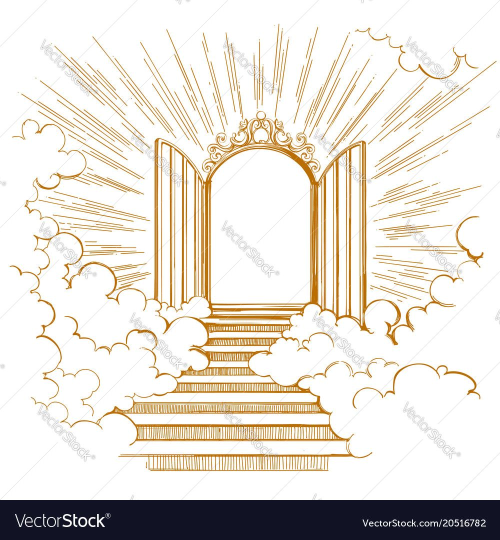 Gates Of Paradise Entrance To The Heavenly City Meeting With God Symbol Of Christianity Hand Drawn Vector I Heaven Tattoos Gates Of Heaven Tattoo Heaven Art