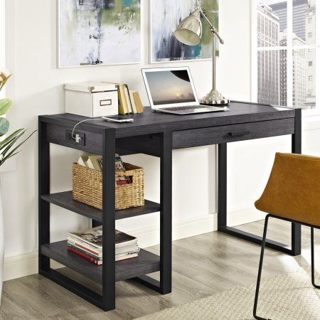 Home Office 48 inch Wood Storage Computer Desk - Charcoal, Gray