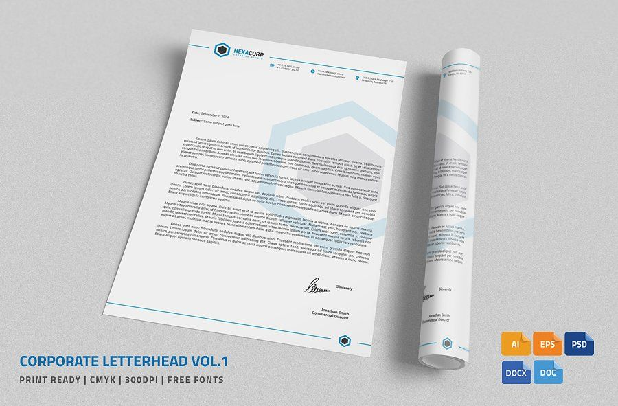 Corporate Letterhead 1 with MS Word by nazdrag on @creativemarket