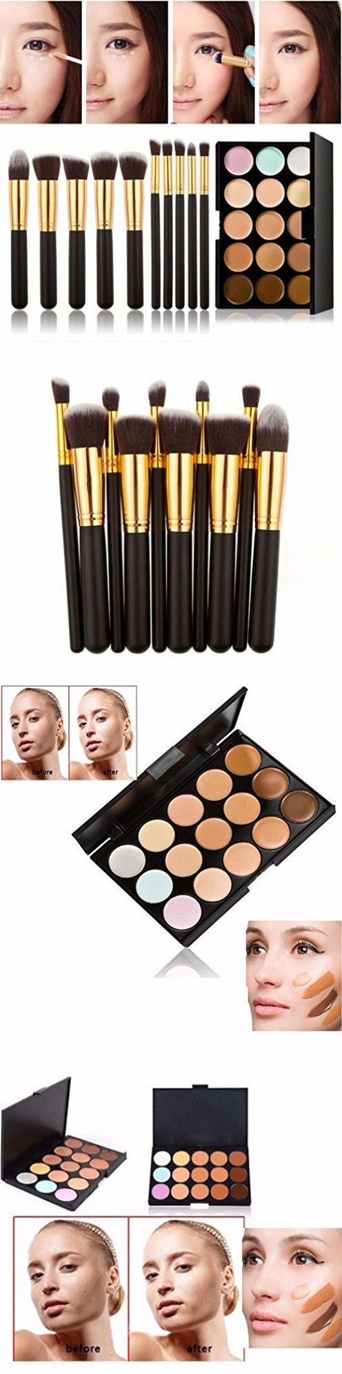 CoKate 10PC Makeup Brush Set with 15 Colors Pro Contour