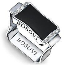 Bosovi Designer Ring - Mens Sterling Silver 0.09ctw ...