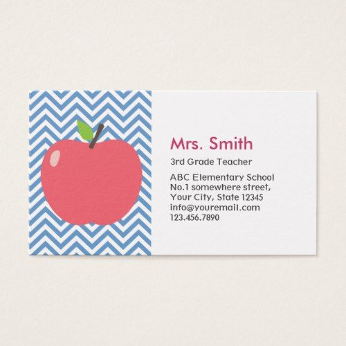 Teacher Cute Apple Modern Blue Chevron Stripes Business ...
