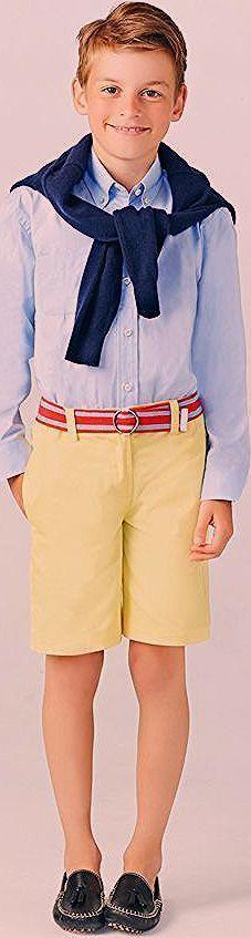 festliche Jungenkleidung, gelbe kurze Hose, hellblaues Hemd mit langen Ärmeln, …,  #Ärmeln …