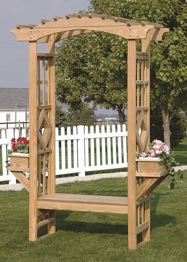 Outdoor wooden garden arbor trellis arches bench amish for Timber garden arch designs