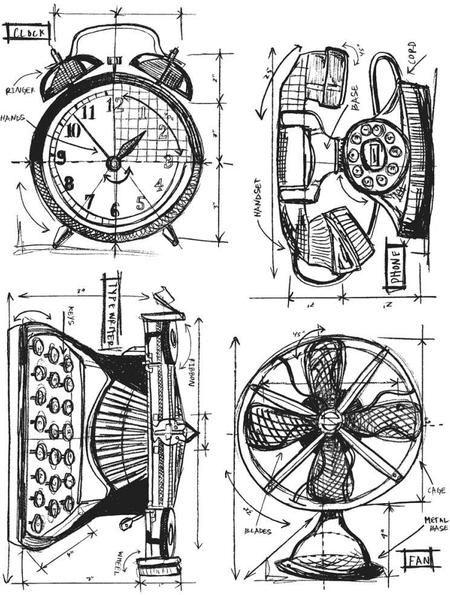 Tim Holtz Cling Rubber Stamp Set - Vintage Things Blueprint Tim - new old blueprint art