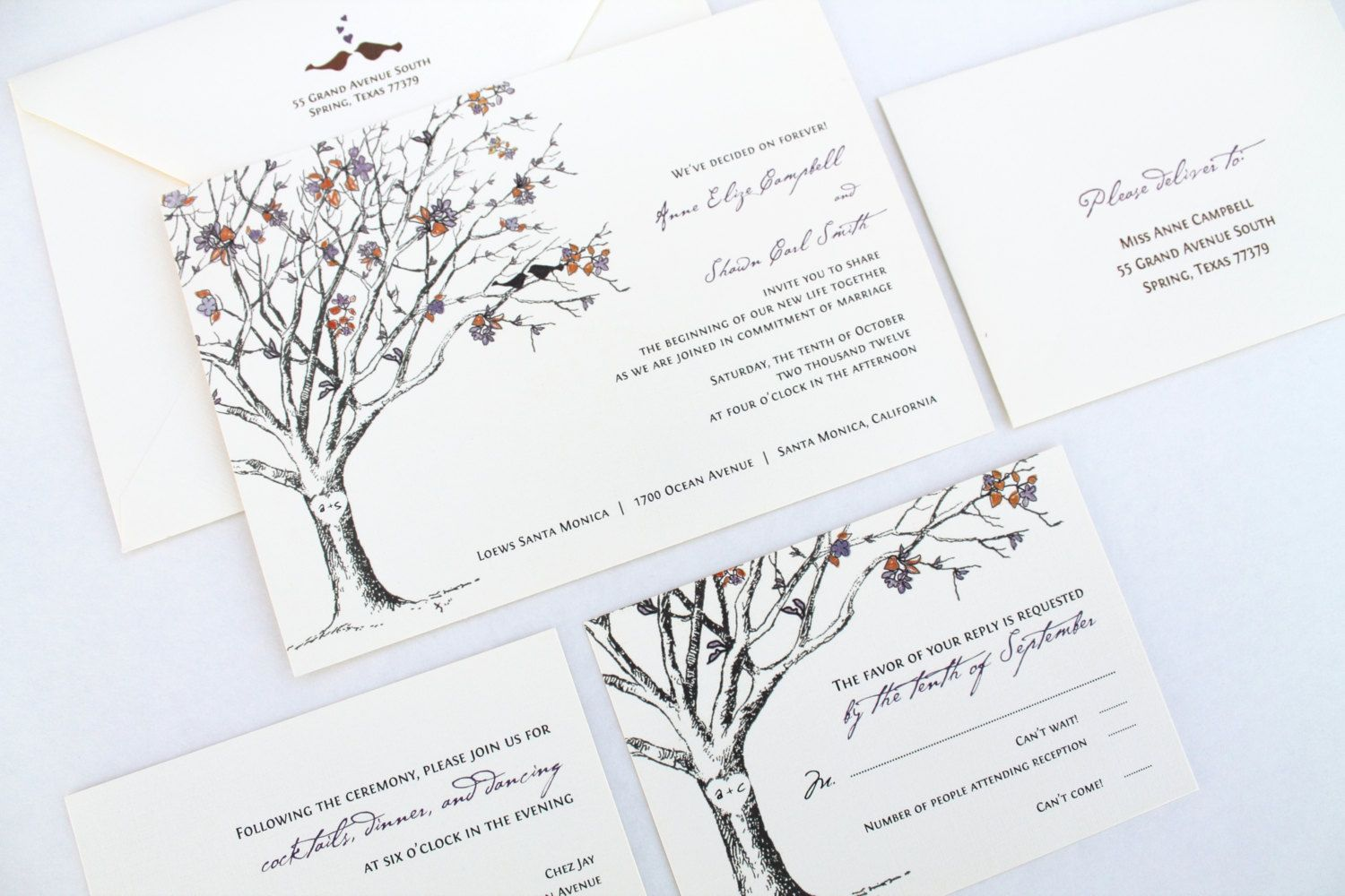 RUSTIC LOVE BIRDS Wedding Invitation Set This design is printed to ...