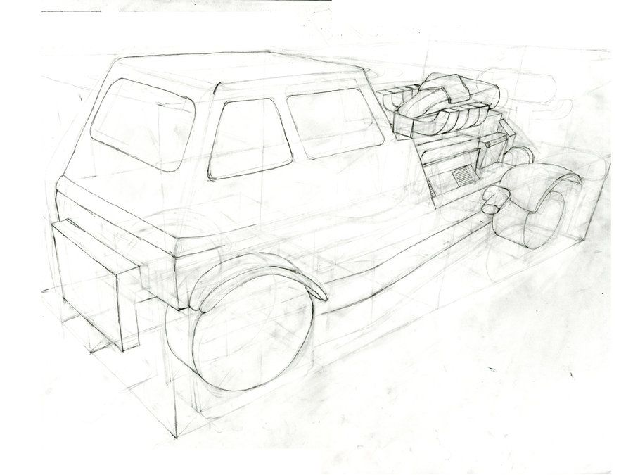 Line Drawing Car : 4 point perspective drawing car in 3 connecting art