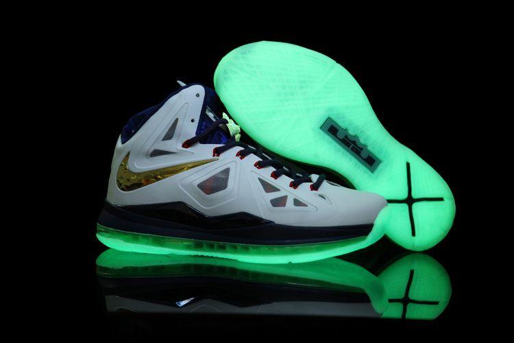 Nouveau Blanc Navy Bleu Or Glow in the Dark Sole Nike Lebron X 10