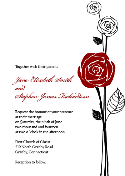 Red Rose Invitation And Rsvp Template Beauty And The Beast Wedding