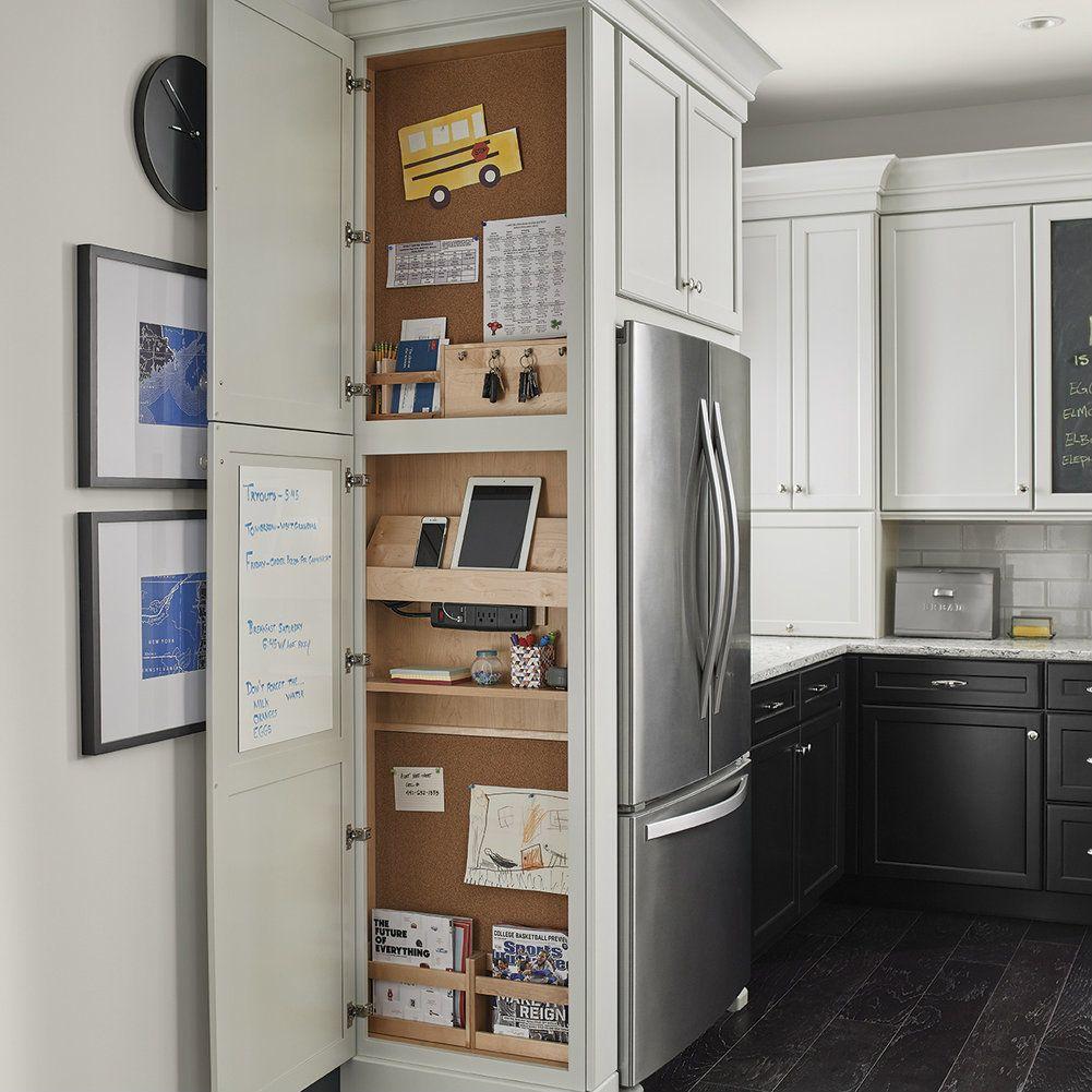 Kraftmaid White Kitchen Cabinets: Message Center - KraftMaid