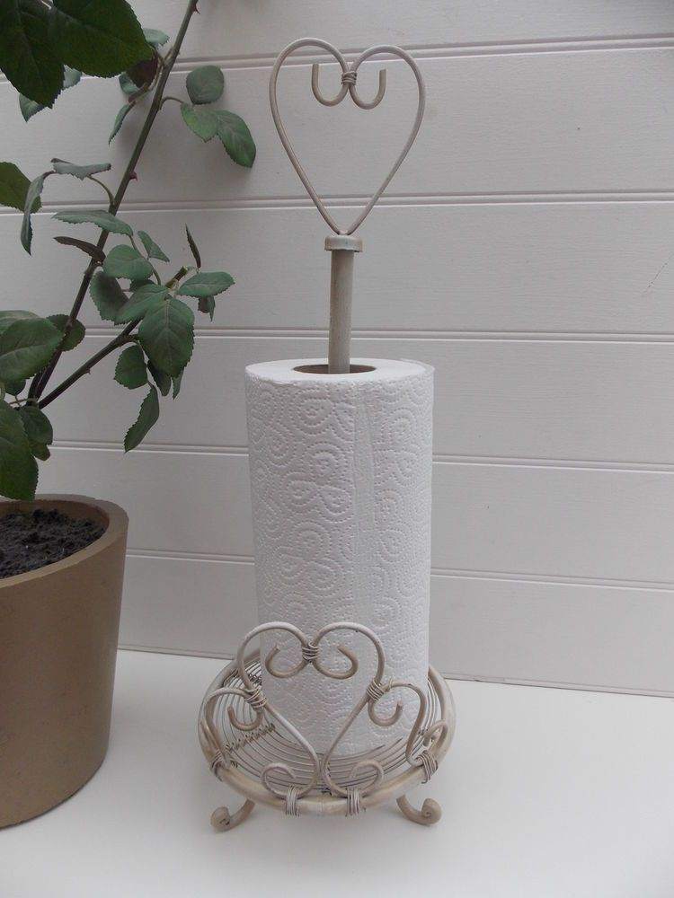 Cream Iron Shabby Chic Heart Kitchen Roll Holder Paper Towel Stand