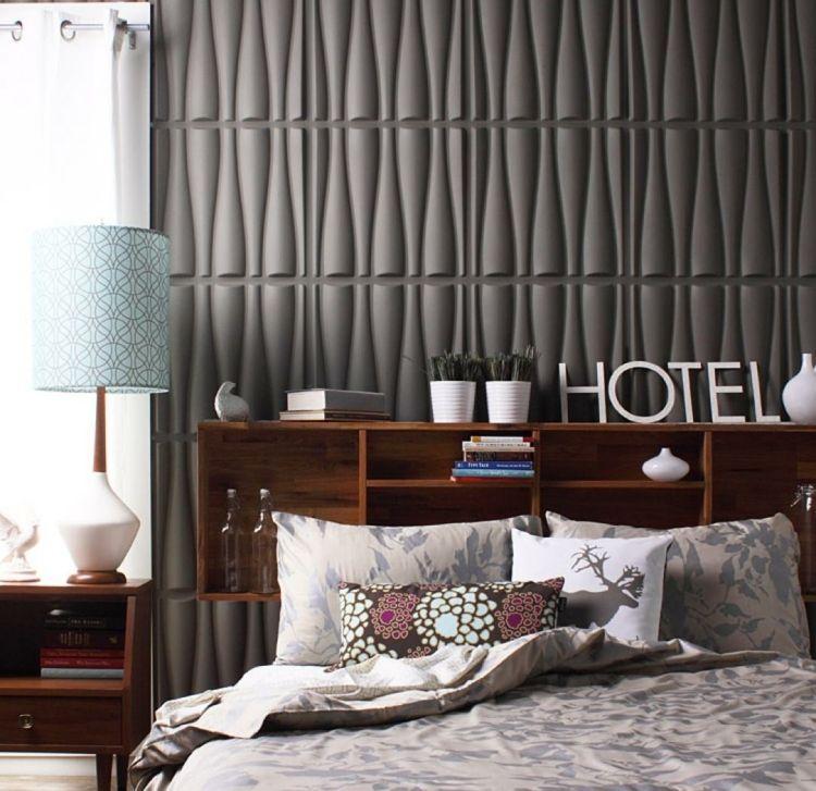Wandgestaltung mit 3D-Paneelen für das Schlafzimmer Wall - schlafzimmer wandgestaltung ideen